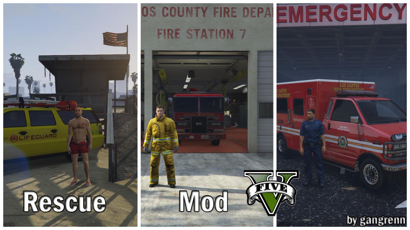 WIP] Rescue Mod V (FD, EMS, LifeGuard) - Script, Ped & File